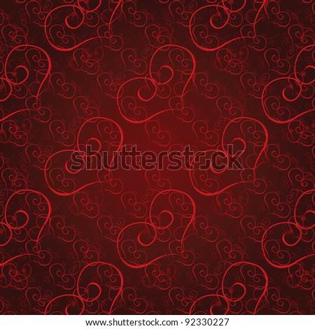 Vector illustration seamless heart pattern. Love background - stock vector