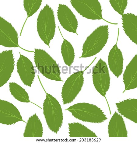 Vector illustration seamless pattern green leaves on white background