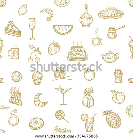 Vector illustration. Seamless pattern.Hand drawing icons snacks, fruit and dessert.Brown color on a light background. - stock vector