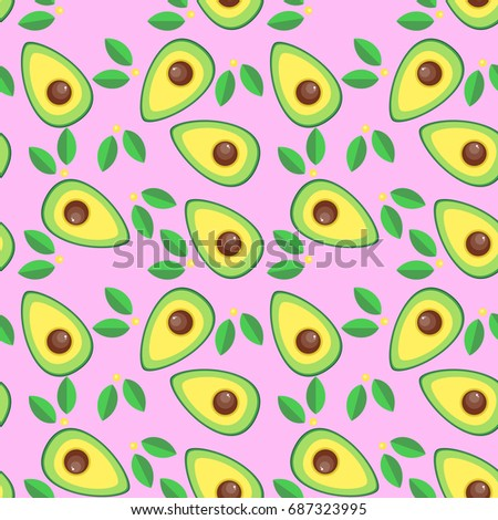 Vector Illustration Seamless Pattern Of Avocado Halves / Slices In Color In Cartoon Style