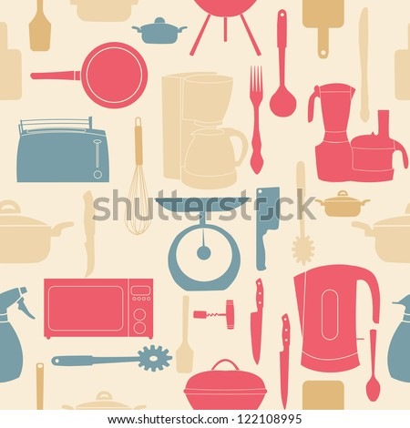vector illustration seamless pattern of kitchen tools for cooking - stock vector