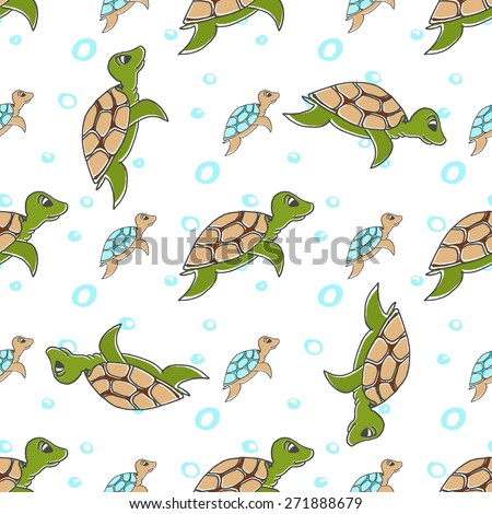 Vector illustration - Seamless pattern of stylized turtles in cartoon style, orange and blue color on a white background. - stock vector