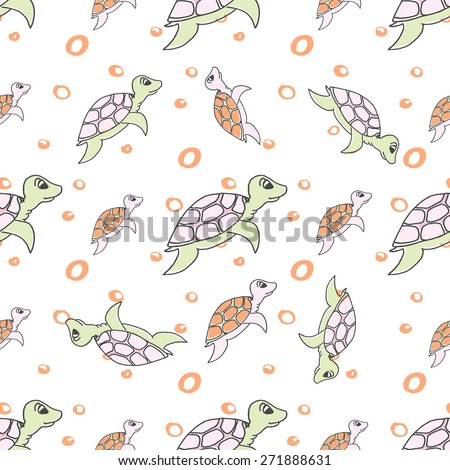 Vector illustration - Seamless pattern of stylized turtles in cartoon style, pastel colors on a white background. - stock vector