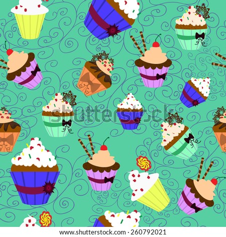 Vector illustration. Seamless pattern. Sweet cupcakes with cream. - stock vector