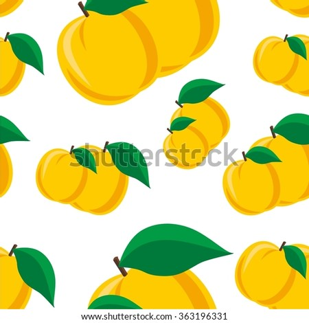 Vector illustration seamless pattern with apricot - stock vector