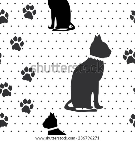 Vector illustration seamless pattern with cats paws - stock vector