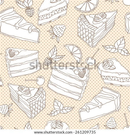 Vector illustration. Seamless pattern with hand drawn sketch pieces of cakes - stock vector