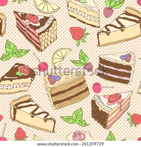Vector illustration. Seamless pattern with pieces of tasty cakes - stock vector