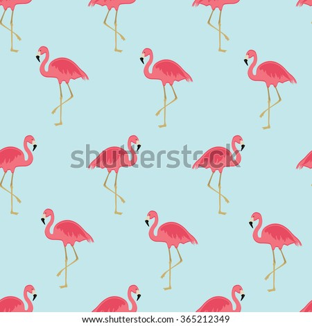 Vector illustration seamless pattern with pink flamingo. Exotic bird - stock vector
