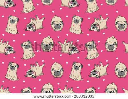 Vector illustration. Seamless vector pattern with pugs. - stock vector