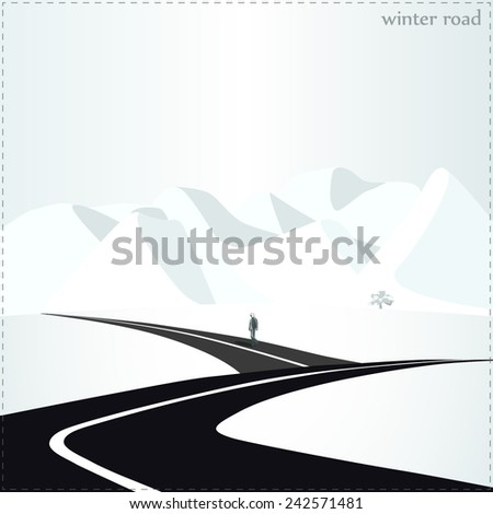 Vector illustration, seasons of the year, flat design, bright contrast colors, winter environment, nature, man walking along the road, mountains - stock vector
