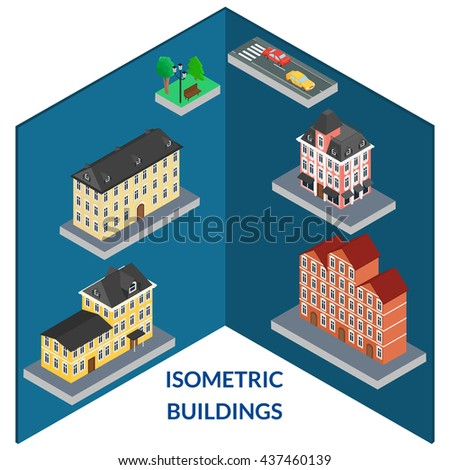 vector illustration. set buildings of old architecture. Tree, bench, light, road, cars. Infographics, isometric, 3D