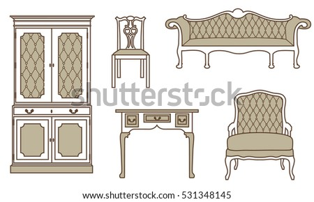 Vector Illustration Set, Collection Of Vintage Furniture Icons. Antique,  Retro Furniture. 18th