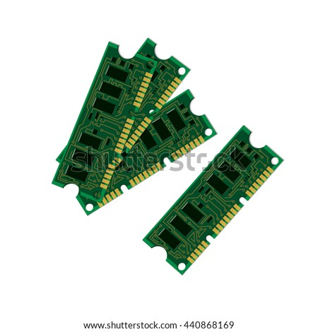 Vector illustration set electric circuit board, various IC chips and electronic components. Green RAM memory chip on white background. Circuit board object isolated - stock vector