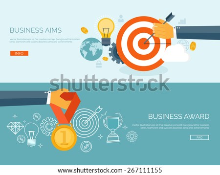 Vector illustration set. Flat business concept background. Achievements and mission. Aims and new ideas. Smart solutions.  First place. Medal. - stock vector