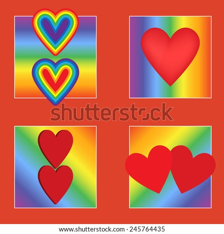 Vector illustration. Set gay Valentine. Hearts on a rainbow background. - stock vector