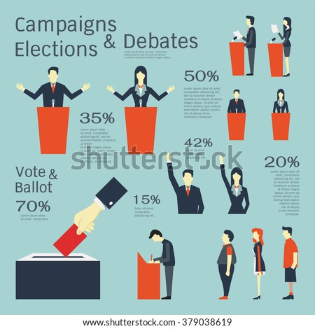Vector illustration set in concept of campaigns, elections, debates, vote, ballot, and queueing. Flat design with simple character.  - stock vector