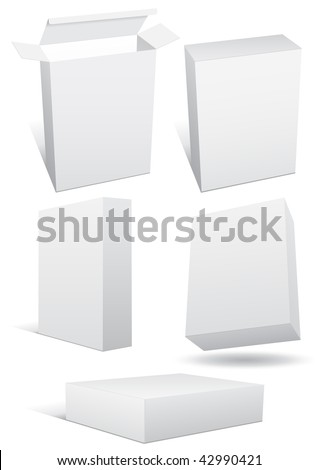 Vector illustration set of a blank (retail) box in different 3D views. All objects are isolated. Box has a transparent background. Colors and white background color are easy to adjust/customize. - stock vector