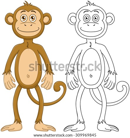 Vector illustration set of a cute monkey standing with line art. - stock vector