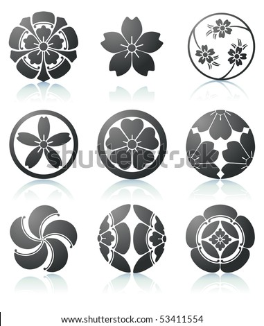 Vector illustration set of abstract Sakura graphic elements in japanese style - stock vector