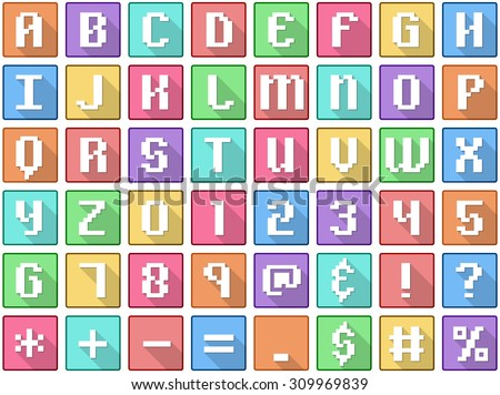 Vector illustration set of alphabet numbers symbols square flat icons in retro style.