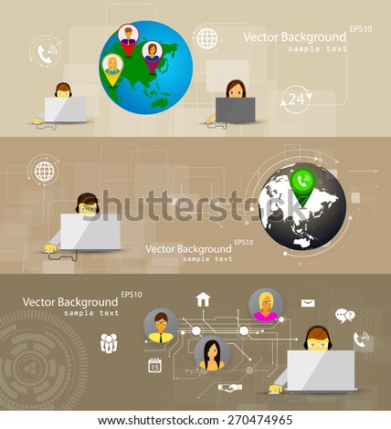 Vector illustration set of banners concept of call center, customer support. - stock vector