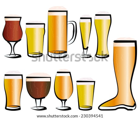 Vector illustration set of beer glasses, as you can find in a bar, a pub or a restaurant