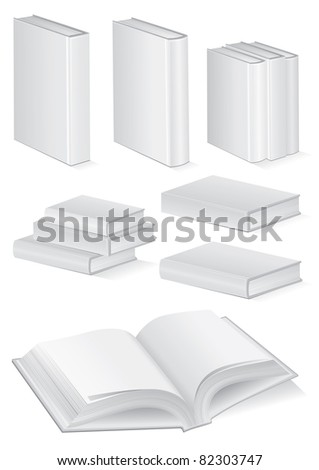 Vector illustration set of blank books with hardcover. All vector objects are isolated and grouped. Colors and transparent background color are easy to customize. - stock vector