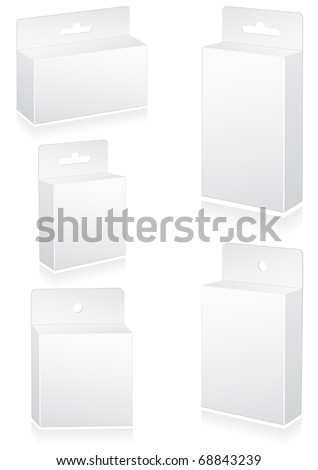 Vector illustration set of blank retail boxes with hang slot. All objects are isolated. Colors and transparent background are easy to adjust. - stock vector