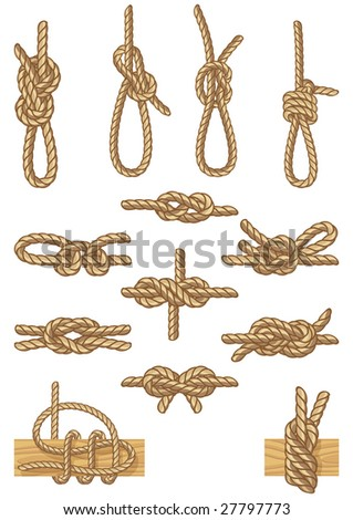 Vector illustration - set of boating knots - stock vector