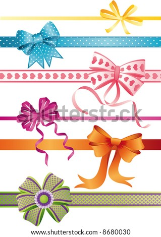 Vector illustration - set of bows - stock vector