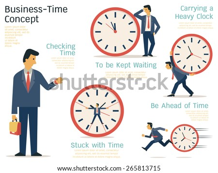 Vector illustration set of businessman in various character with time concept. Flat design.  - stock vector