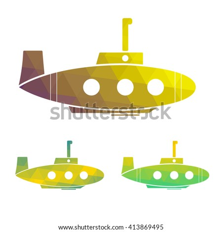 Vector illustration set of cartoon yellow submarine. design element. - stock vector