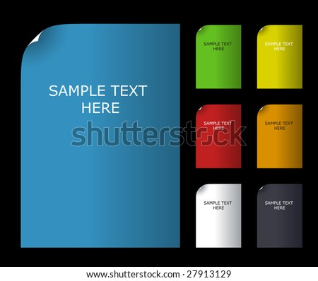 Vector illustration. Set of color blank paper with text. - stock vector