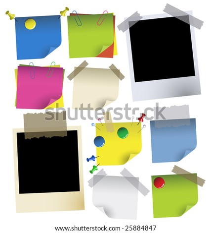 Vector illustration. Set of color blanks with tape and pins. - stock vector