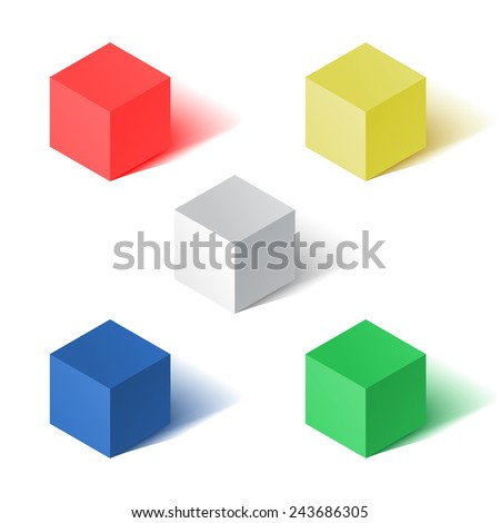 Vector illustration set of colored cubes. - stock vector