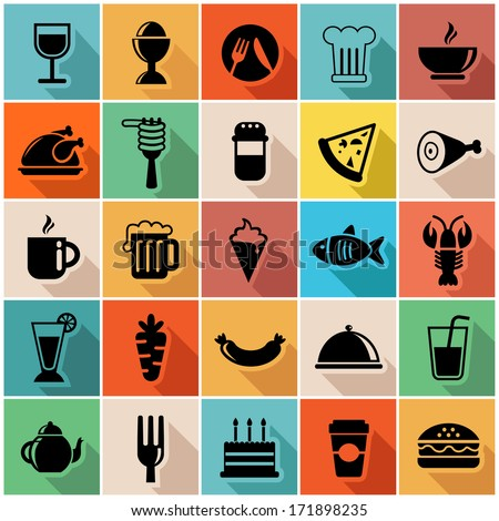Vector illustration set of colorful food icons in modern flat design  - stock vector