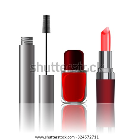 vector illustration, set of cosmetics, nail noogtey, lipstick, mascara
