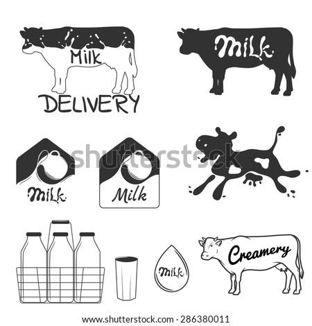 Vector illustration, set of creamery labels and design elements. - stock vector