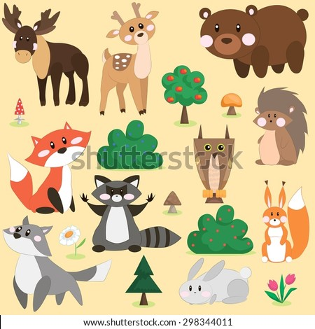 Vector illustration set of cute forest animals in cartoon style  - stock vector