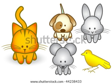 Vector illustration set of different cartoon pet animals. All vector objects and details are isolated and grouped. Colors and transparent background color are easy to adjust. - stock vector