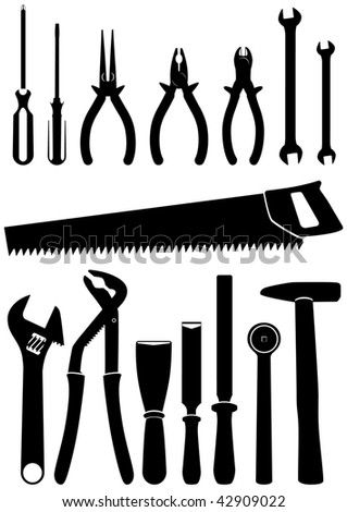 Vector illustration set of 15 different hand tools. All objects and details are isolated and grouped. Each tool has a transparent background. Colors are easy to adjust or customize. - stock vector