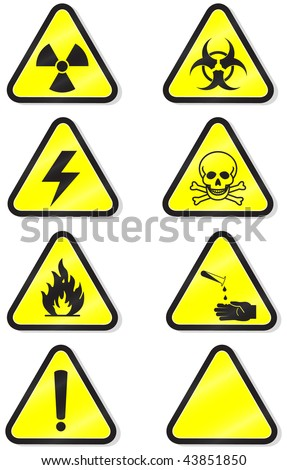 Vector illustration set of different hazmat warning signs. All vector objects are isolated and grouped. Colors and transparent background color are easy to adjust. Symbols are replaceable.