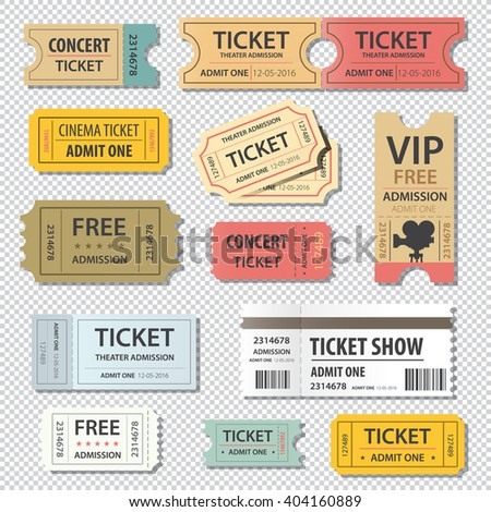 vector illustration set of different movie show ticket - stock vector