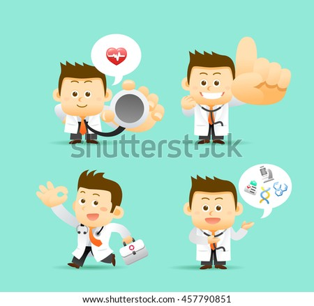 Vector illustration -  Set of Doctor character