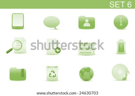 Vector illustration ? set of elegant simple icons for common computer and media devices functions. Set-6 - stock vector