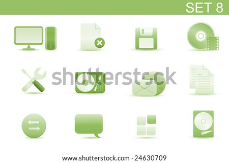 Vector illustration ? set of elegant simple icons for common computer and media devices functions.Set-8 - stock vector