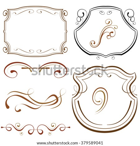 vector illustration. set of elements for design. decorative borders and frames