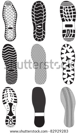 Vector illustration set of footprints. All vector objects are isolated and grouped. Colors and transparent background color are easy to customize. - stock vector