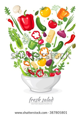 Vector illustration set of fresh, ripe, delicious vegetables in vegan salad on white background. Healthy organic food in a plate.  Ingredients for cooking in flat style